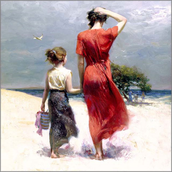 Mother and Daughter walking on beach
