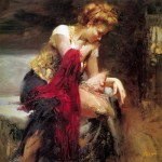 Pino women with red shawl